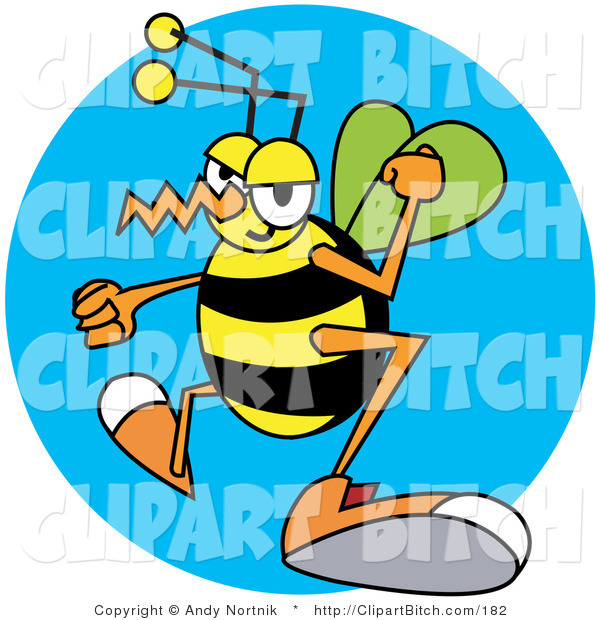 Clip Vector Art of a Yellow and Black Grumpy Wasp with Clenched Fists