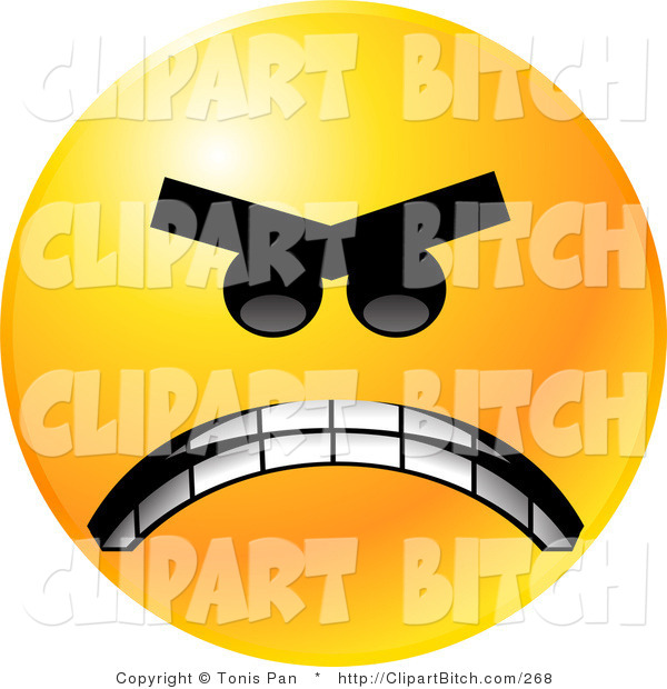 Clip Vector Art of a Yellow Emoticon Face Mad with Anger, Gritting His Teeth in Anger