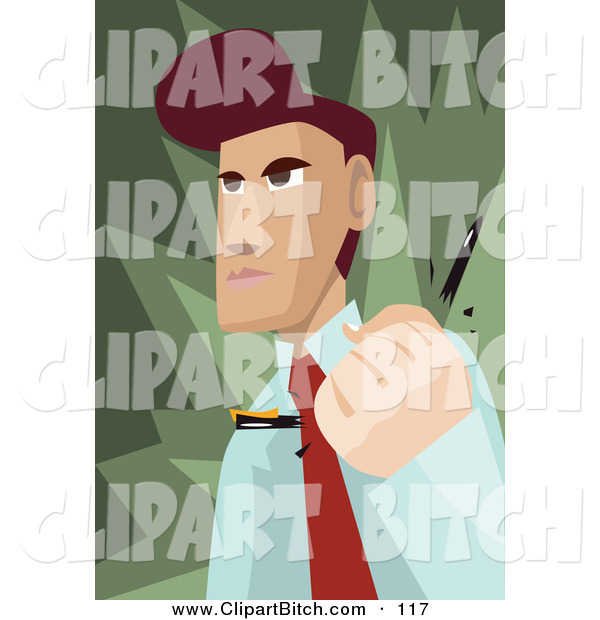 Clip Vector Art of an Angry Brunette Businessman Snapping a Pen in His Hand