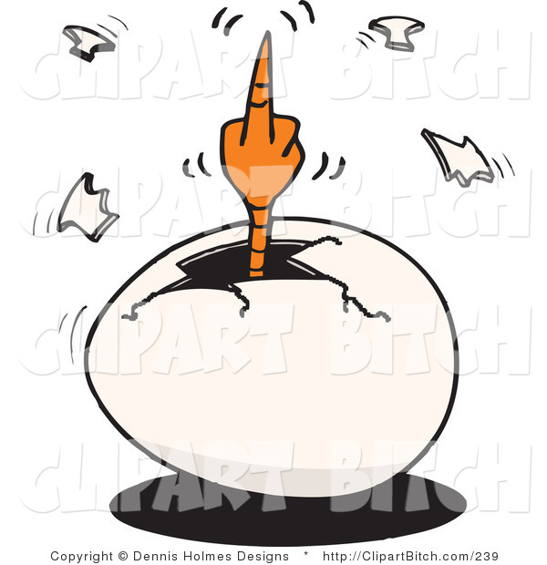 Clip Vector Art of an Angry Hatching Chick Flipping the Bird While Cracking out of an Egg
