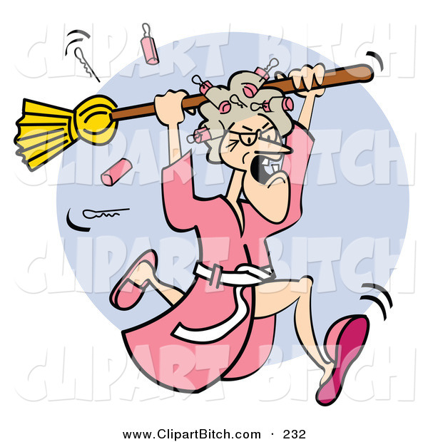 Clip Vector Art of an Angry White Granny in a Robe, Dropping Curlers While Chasing Someone with a BroomAngry White Granny in a Robe, Dropping Curlers While Chasing Someone with a Broom