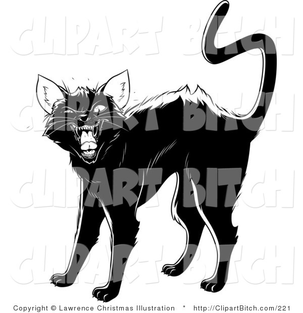 Clip Vector Art of an Evil Black Cat Arching Its Back, Twitching Its Tail and Hissing at Someone