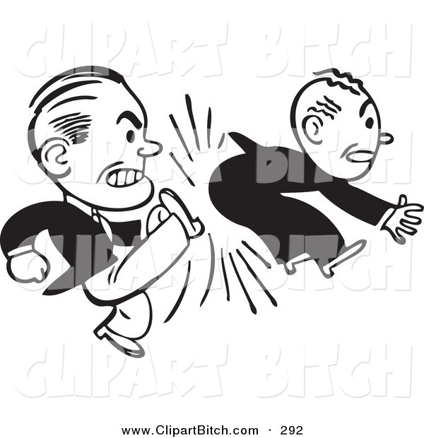 Clip Vector Art of an Old Fashioned Black and White Businessman Kicking Another in the Butt