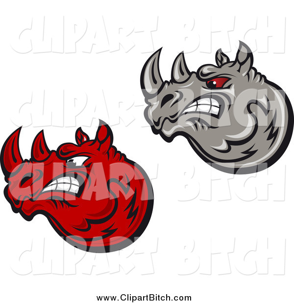 Clip Vector Art of Mad Red and Gray Rhino Heads