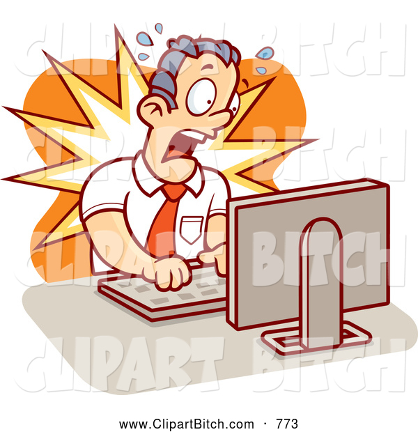 Clip Vector Cartoon Art of a Alarmed Mad Businessman Working on a Computer