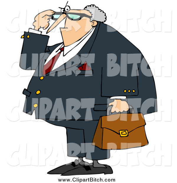 Clip Vector Cartoon Art of a Angry Caucasian Male Attorney