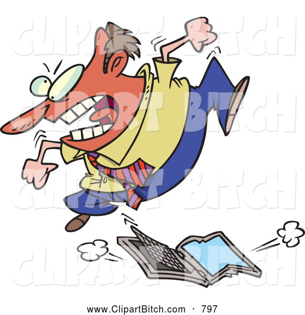 Clip Vector Cartoon Art of a Angry Frustrated Cartoon Businessman Trampling a Laptop Computer