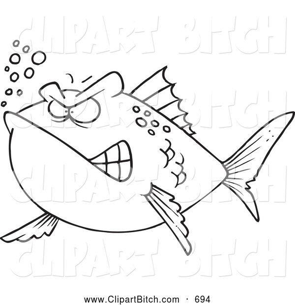Clip Vector Cartoon Art of a Angry Mad Fish