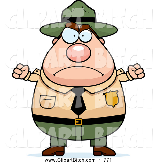 Clip Vector Cartoon Art of a Angry Plump Male Forest Ranger Waving His Fists