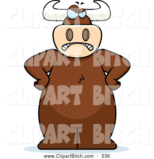 Clip Vector Cartoon Art of a Big Angry Scowling Bull Standing with His Hands on His Hips