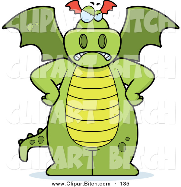 Clip Vector Cartoon Art of a Big Green Frowning Dragon Standing with His Hands on His Hips