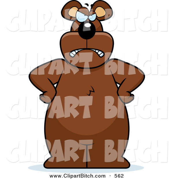 Clip Vector Cartoon Art of a Big Grumpy Bear Standing with His Hands on His Hips