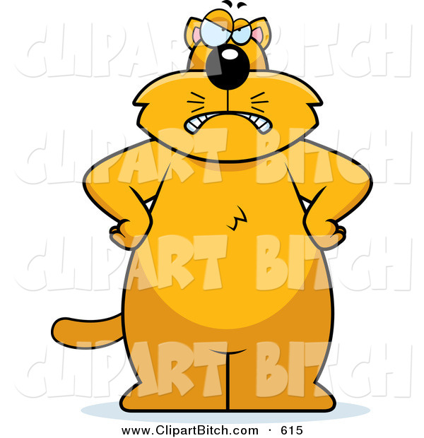 Clip Vector Cartoon Art of a Big Grumpy Orange Kitty Cat Facing Front with His Hands on His Hips