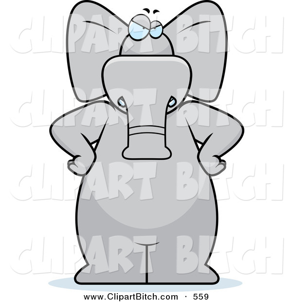 Clip Vector Cartoon Art of a Big Stern Gray Elephant Standing with His Hands on His Hips, Scolding