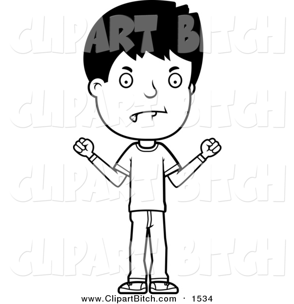Clip Vector Cartoon Art of a Black and White Angry Adolescent Teenage Boy