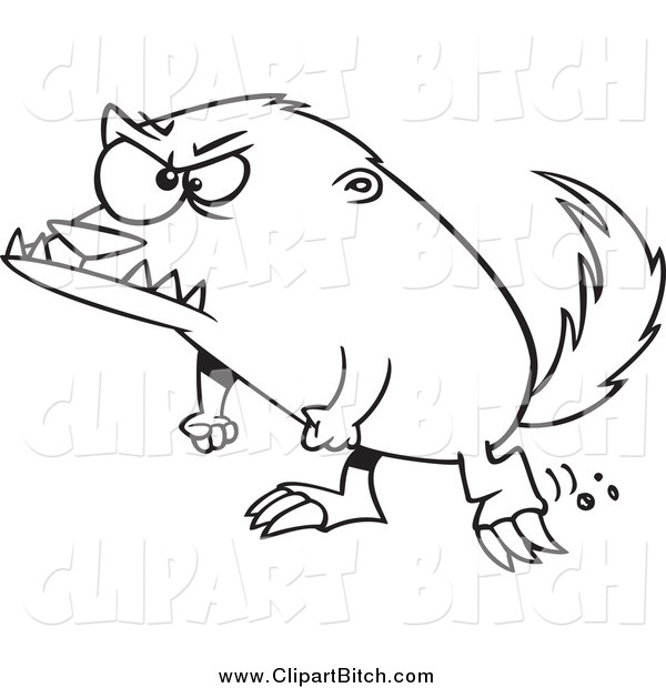 Clip Vector Cartoon Art of a Black and White Angry Honey Badger