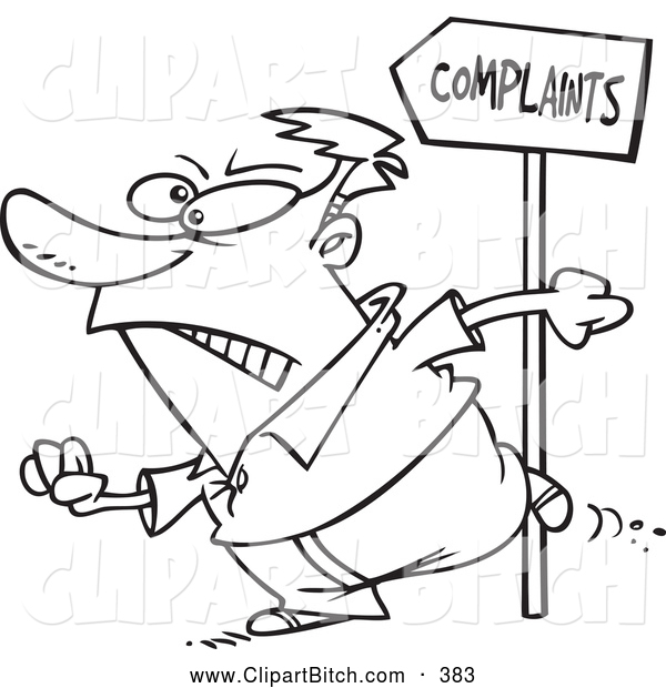 Clip Vector Cartoon Art of a Black and White Customer Going to Complain