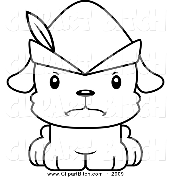 Clip Vector Cartoon Art of a Black and White Cute Mad Robin Hood Puppy Dog