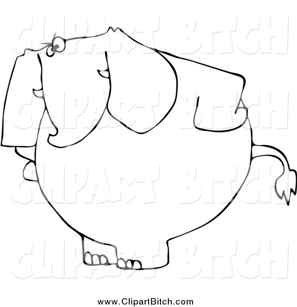 Clip Vector Cartoon Art of a Black and White Mad Elephant with Hands on Its Hips