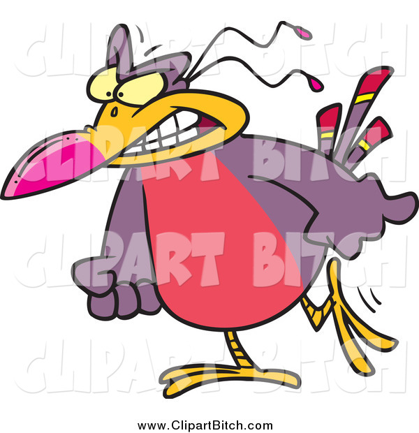 Clip Vector Cartoon Art of a Cartoon Angry Bird