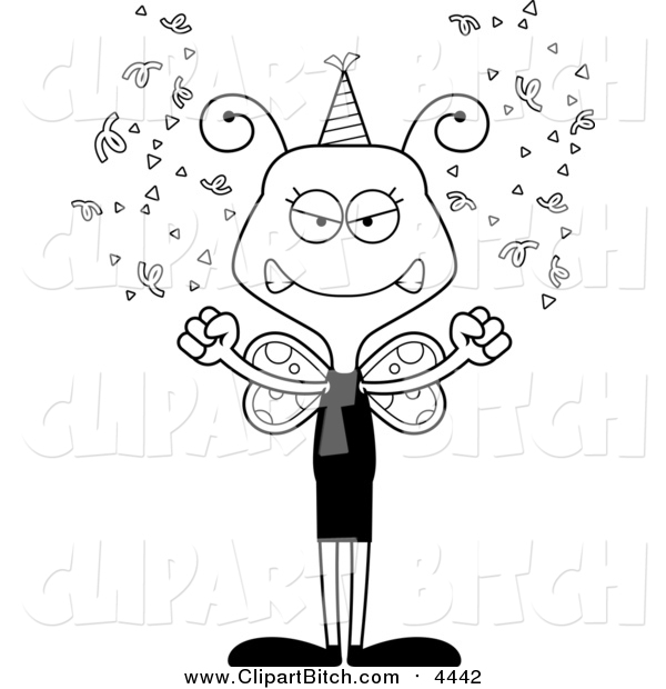 Clip Vector Cartoon Art of a Cartoon Black and White Lineart Mad New Years Party Butterfly
