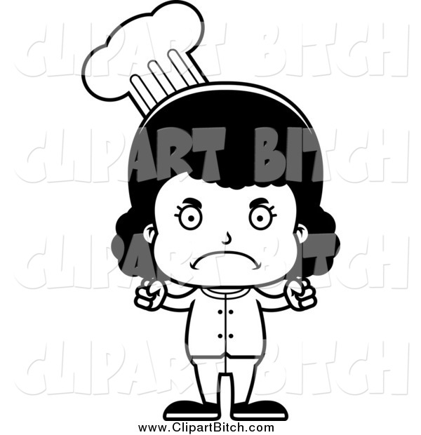 Clip Vector Cartoon Art of a Cartoon Black and White Mad Black Girl Chef