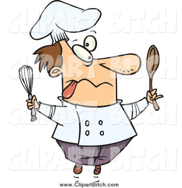Clip Vector Cartoon Art of a Cartoon Crazy Male Chef