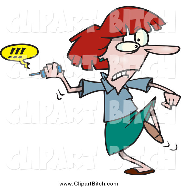 Clip Vector Cartoon Art of a Cartoon Furious Businesswoman Fed up with Her Cell Phone