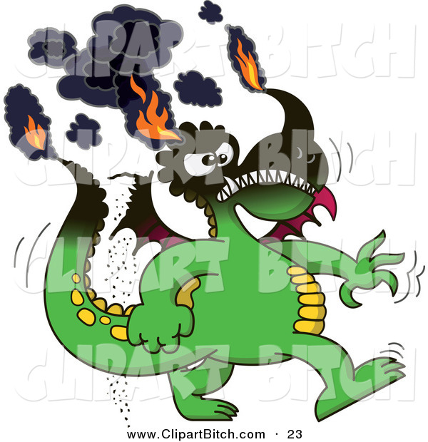 Clip Vector Cartoon Art of a Cartoon Smoking Green Dragon with His Tips on Fire