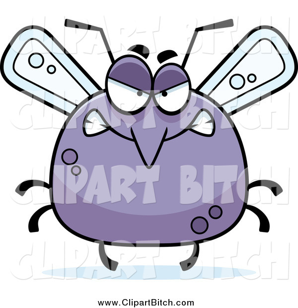 Clip Vector Cartoon Art of a Chubby Angry Mosquito