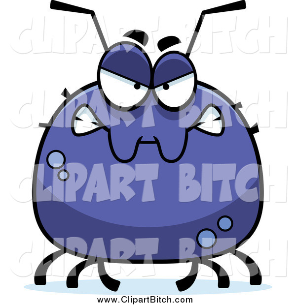 Clip Vector Cartoon Art of a Chubby Angry Tick