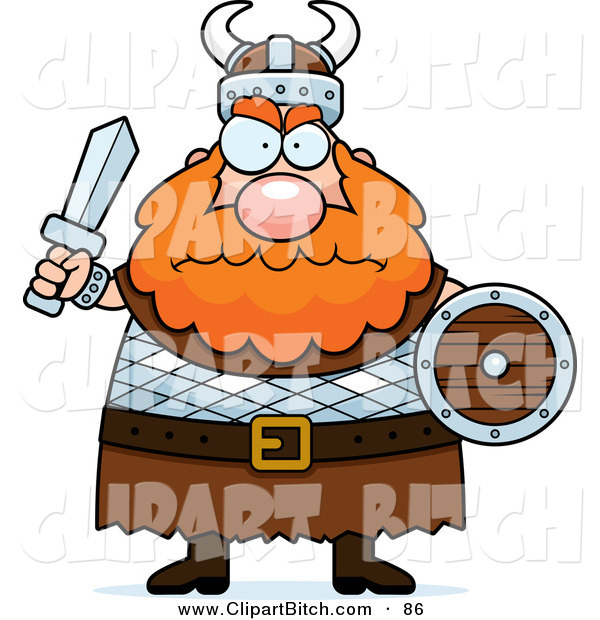 Clip Vector Cartoon Art of a Chubby Mad Viking Man with Red Hair Holding a Sword and Shield