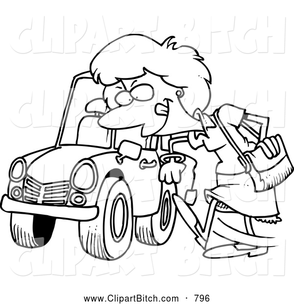 Clip Vector Cartoon Art of a Coloring Page of a Woman Kicking a Tire on a Ca