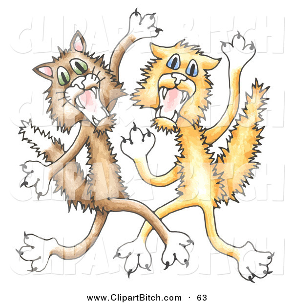 Clip Vector Cartoon Art of a Couple of Scared Cats Scratching and Fighting