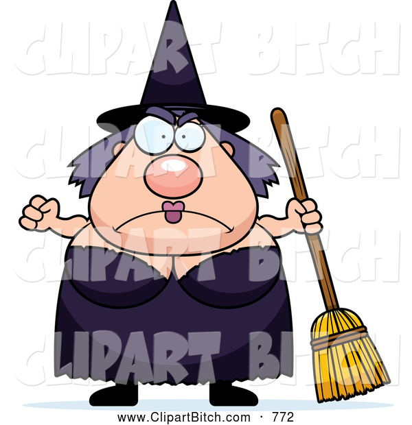 Clip Vector Cartoon Art of a Cute Mad Plump Witch