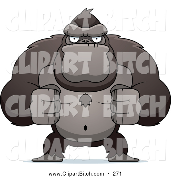 Clip Vector Cartoon Art of a Flexing Ape with Fists Clenched