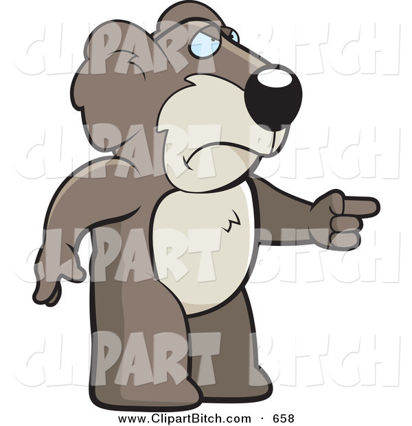 Clip Vector Cartoon Art of a Frowning Angry Koala Pointing to the Right