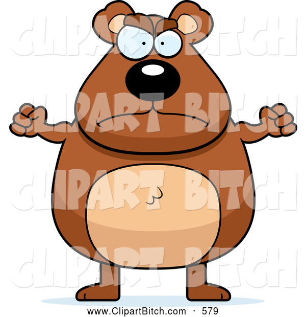 Clip Vector Cartoon Art of a Frowning Mad Bear
