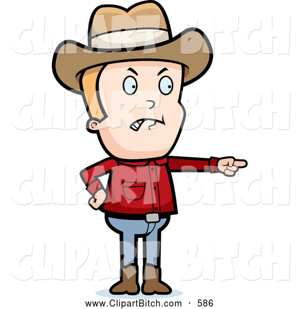 Clip Vector Cartoon Art of a Frowning Mad Cowboy Angrily Pointing