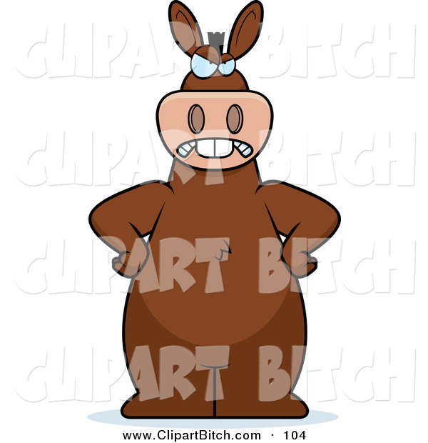 Clip Vector Cartoon Art of a Frowning Mad Donkey Standing with His Hands on His Hips