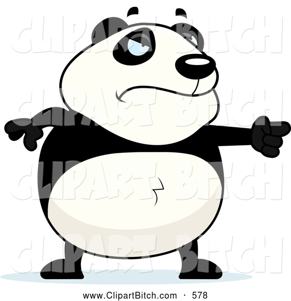 Clip Vector Cartoon Art of a Frowning Mad Panda Pointing