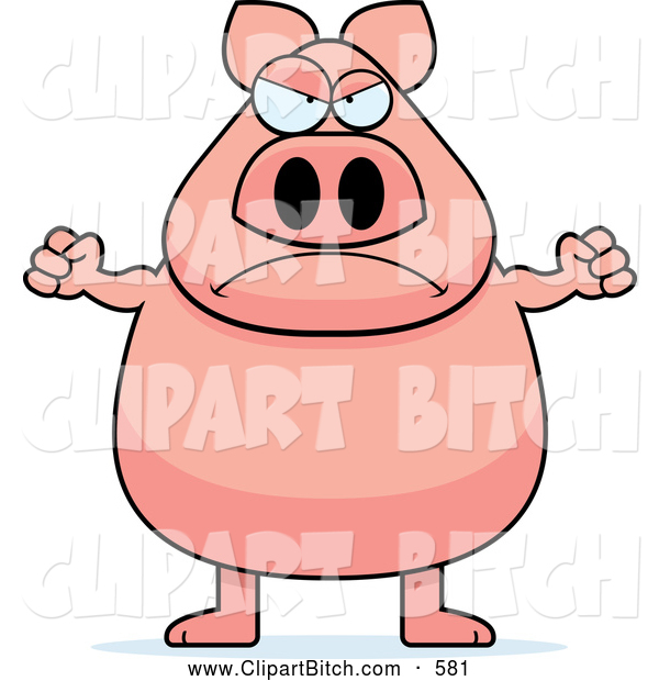 Clip Vector Cartoon Art of a Frowning Mad Pig
