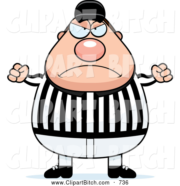 Clip Vector Cartoon Art of a Frowning Mad Referee