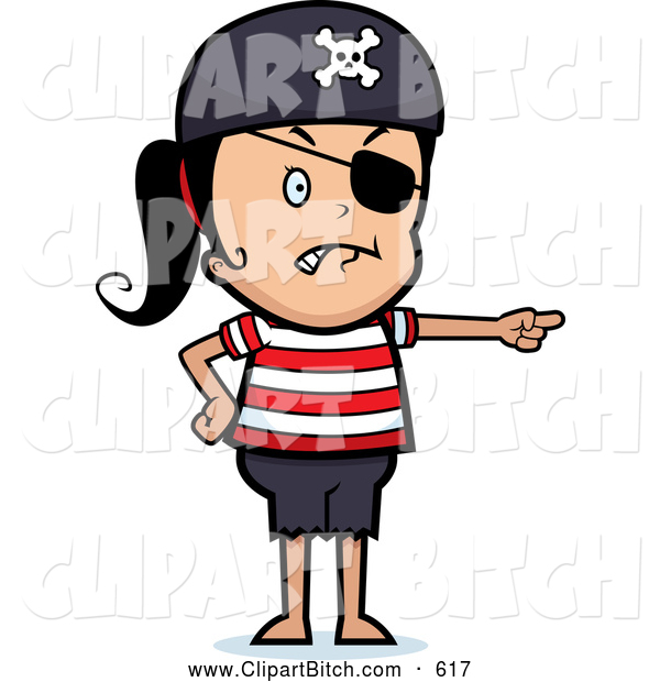 Clip Vector Cartoon Art of a Frowning Pirate Girl Pointing