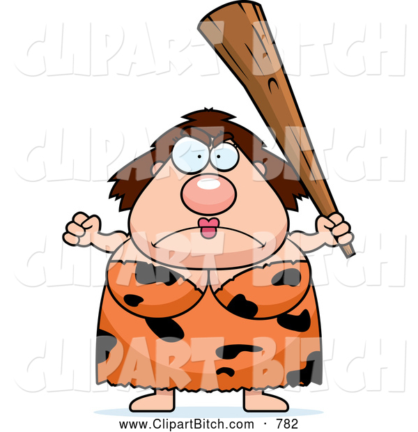 Clip Vector Cartoon Art of a Frowning Plump Cave Woman with a Club