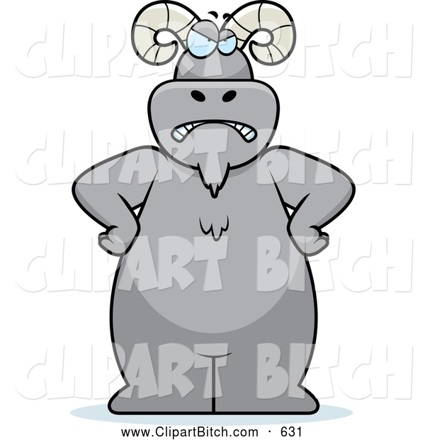 Clip Vector Cartoon Art of a Frowning Ram Standing with His Hands on His Hips