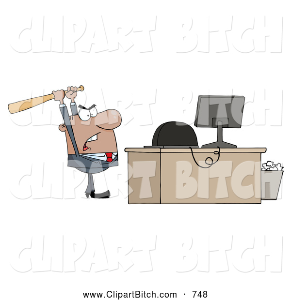 Clip Vector Cartoon Art of a Frustrated Black Businessman Holding a Bat over a Computer