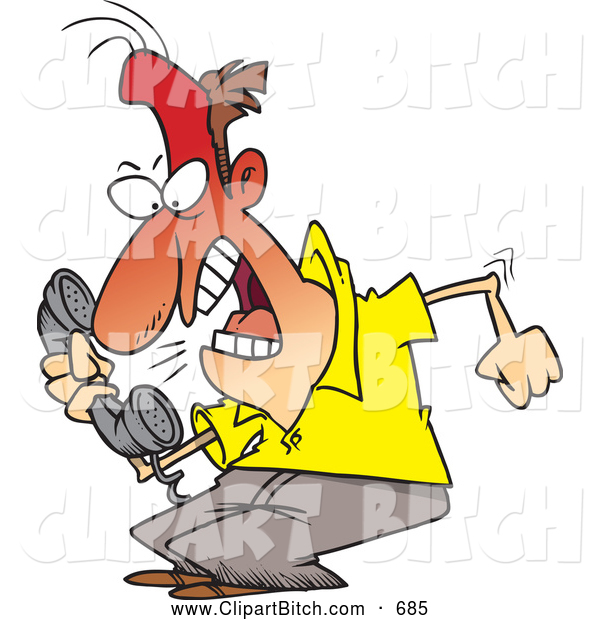 Clip Vector Cartoon Art of a Frustrated Cartoon Irate Man Screaming into a Phone
