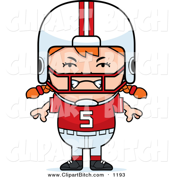 Clip Vector Cartoon Art of a Furious Red Haired Football Player Girl