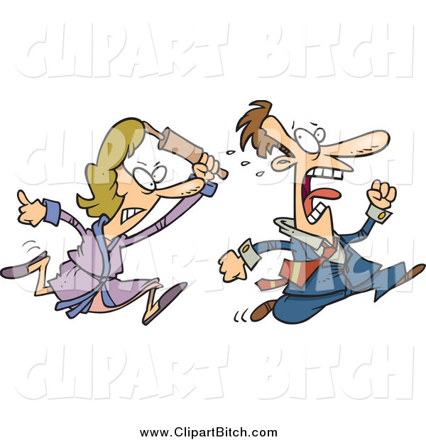 Clip Vector Cartoon Art of a Furious Woman Chasing Her Husband with a Rolling Pin
